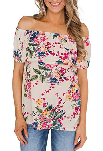 (noabat Off The Shoulder Tops for Women Biege Flower Printing Shirts Ruffle Trim X-Large)