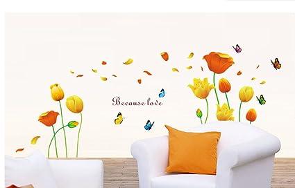 ufengke® Bellissimi Tulipani e Farfalle Adesivi Murali, Camera da Letto  Soggiorno Adesivi da Parete Removibili/Stickers Murali/Decorazione Murale