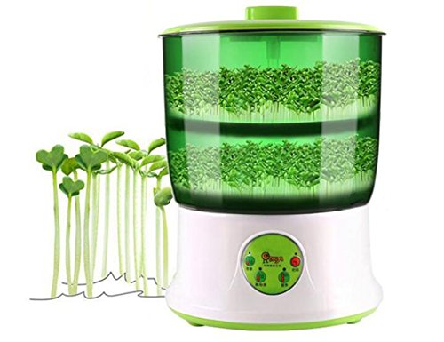 110V Bean Sprouts Machine Automatic Intelligence Electronical Seed Sprouts Maker Food Grad PP Material 2 Layers Large Capacity Power-off Memory Function Sprouter by LeJoy