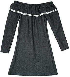 Girls Denim Look Pom Pom Trim Stretch Long Sleeve Fashion Dress 3 to 12 Years