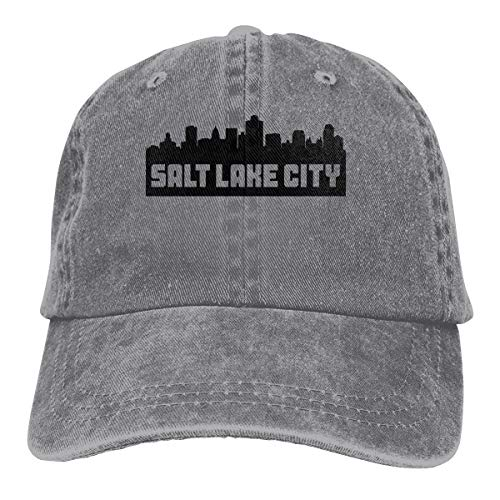- Unisex Baseball Cap Hat Salt Lake City Utah Skyline Adjustable Jean Dad Hat for Women Gray