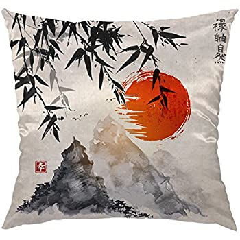 HGOD DESIGNS Bamboo Pillow Case,Japanese Bamboo Trees Sun and Mountains Painting Satin Cushion Cover Square Standard Home Decorative for Men/Women 18x18 inch Black,Red,Gray