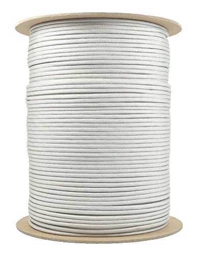 BoredParacord - 1', 10', 25', 50', 100' Hanks & 250', 1000' Spools of Parachute 550 Cord Type III 7 Strand Paracord WELL Over 300 Colors - Silver Grey - 1000 Foot Spool (Silver 100ft Spool)
