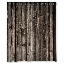 Free Shipping European Style Bath Curtain 152x182cm Vintage Rustic Old Barn Wood Bathroom Shower Curtain Fabric With 12 Hooks