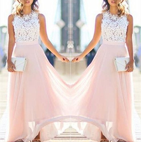 BessWedding Scoop Pink2 Dresses Chiffon Sleeveless Dress Cocktail with Party Elegant qZqaw1Bf