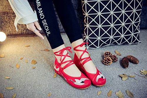 SK Femmes Mary Rouge À Appartements Jane Femmes Chaussures Talons À Chinoise Broderie Floral Grue La Plat À Main Mocassins Studio Bas rSFpzqr
