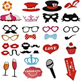 Photo Booth Props - 31 Pieces Mustache On A Stick Wedding Party Photo Booth Props Photobooth Funny Masks Bridesmaid Gifts For Wedding Decoration - Wedding Photo Booth Props - Photo Booth Accessories