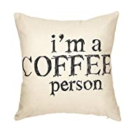 """Fjfz I Am a Coffee Person Motivational Inspirational Quote Cotton Linen Home Decorative Throw Pillow Case Cushion Cover with Words for Coffee Lover Sofa Couch, 18"""" x 18"""""""