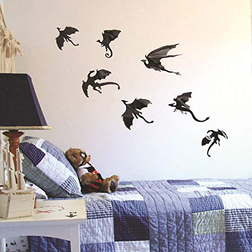 HBOS 3D Dragon Wall Sticker 7 Pcs DIY Removable Black Wall Decal for Halloween Gothic Party, Home, Window Decoration ()