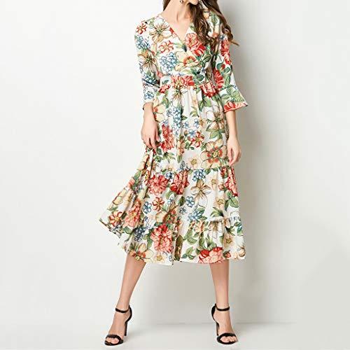 A-Line Printed Ruffled Dress,Hurrybuy Women Elegant V-Neck Knee-Length Vintage Holiday Dress Orange by Women's Blouse (Image #4)