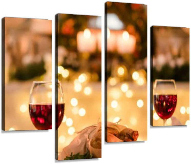 Romantic Dinner Date Love Food Canvas Wall Art Hanging Paintings Modern Artwork Abstract Picture Prints Home Decoration Gift Unique Designed Framed 4 Panel