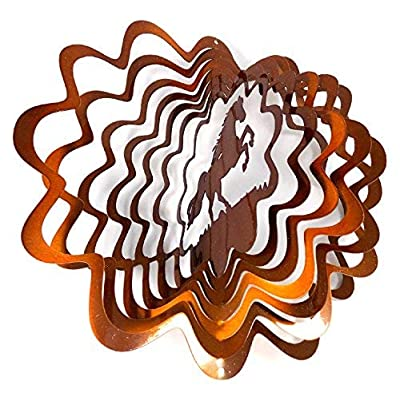 WorldaWhirl Whirligig 3D Wind Spinner Hand Painted Stainless Steel Twister Horse (6.5 Inch, Copper) : Garden & Outdoor