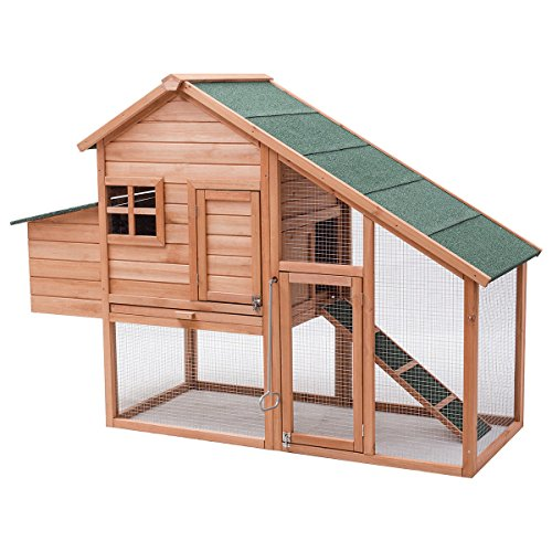 Tangkula 67 Chicken Coop Outdoor Garden Backyard Large Wood Hen House Rabbit Hutch Poultry Cage with Run