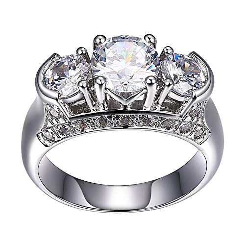 Platinum Plated .925 Sterling Silver 7mm Cubic Zirconia Three-Stone Semi Bezel-Set Ring, Size 8 ()