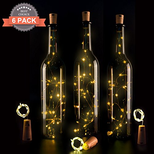 Wine Bottle Lights with Cork,LED Cork Lights for Bottle 6 Pack,Copper Wire Bottle Lights for DIY, Party, Decor, Christmas, Halloween,Wedding(Warm White) - Wine Bottle Lighting Kit