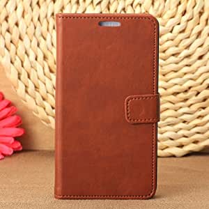 Pu Leather Folio Case with Credit Cards Holder for Samsung Galaxy Note 3 Note III (Brown)