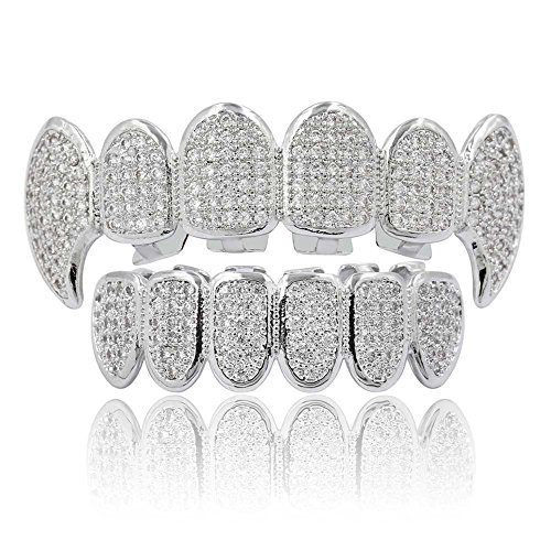 JINAO Silver Plated Hip Hop Teeth Grillz All CZ Stones Micro