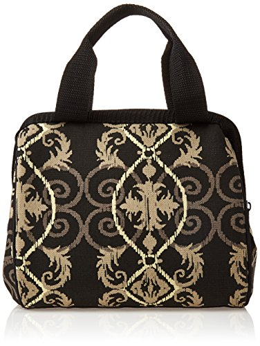 Fit & Fresh Women's Downtown Insulated Lunch Bag with Zipper Closure and Exterior Pocket, Stylish Adult Lunch Box for Work, Black Helix Damask