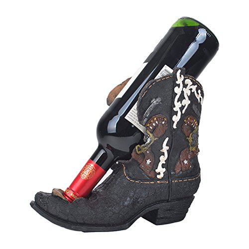 White Deer Western Cowboy Boot Wine Bottle Holder Stand with Revolver & Bullet Prints