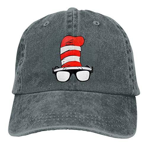 YY LING Cat in The Hat Glasses - Dr. Seuss Adult Cowboy Baseball Caps Denim Hats for Men Women ()