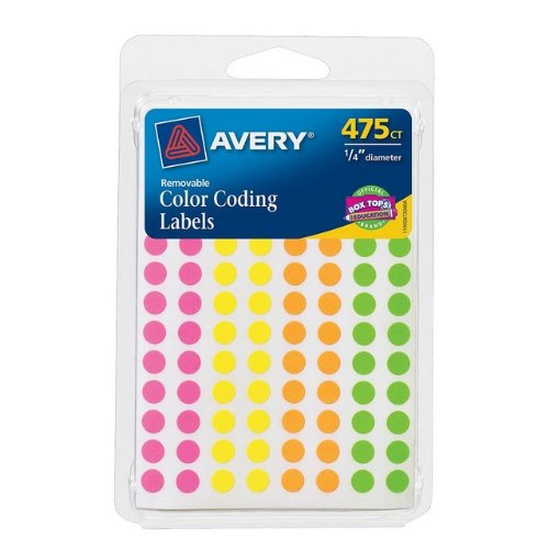 "Avery 06720 .25"" Round Removable Color Coding Labels Assorte"
