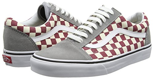 vans old skool checkerboard frost grey rhubarb