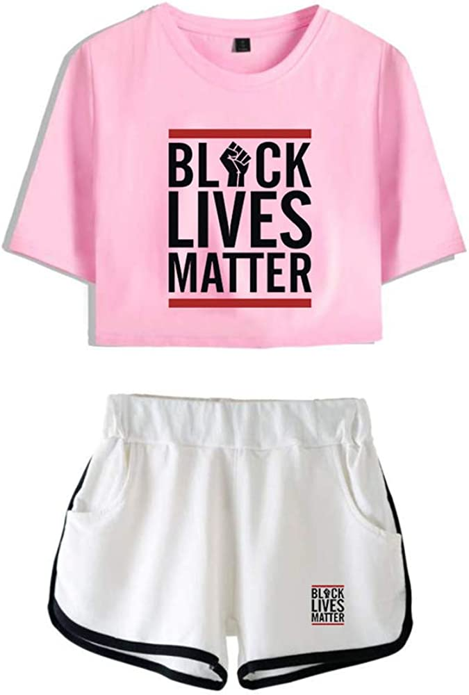 I Cant Breathe T-Shirt and Short Set 2 Piece Sportwear Short Sleeve Tops Sweatpants Black-Lives-Matter Summer Letter Print Tracksuit Outfit