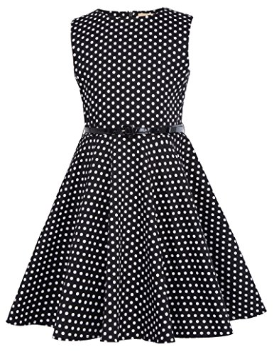 Kate Kasin Girls Vintage Dress 1950'S Retro Sleeveless Polka Dot Dress With Belt, K250-19, 7-8 Years