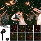 Weeding Party Decorative Lights Outdoor Projector,Moving Red and Green Stars Laser Lights