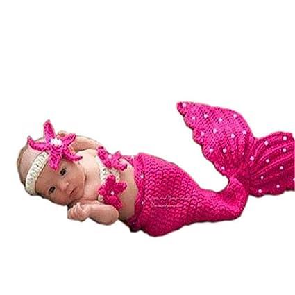 Zhongsufei Bebé recién Nacido Fotografía Prop Crochet Sirena Diadema Sujetador Sujetador Cola Rosa/Rosa Roja