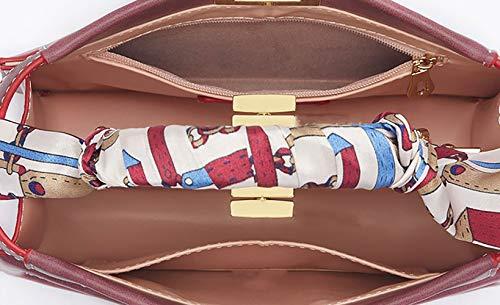 Cuir à portés Sacs Sacs Sacs portés Cartable de épaule Jujube Rouge Sacs main DEERWORD main Femme Sacs bandoulière Faux wqEOn6H8
