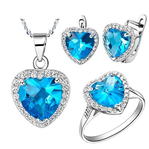 Beydodo Schmuck Set Frauen Blau Zirkonia Herz Anhänger Halskette Ring und Ohrringe Set Versilbert Geschenk für Mutter