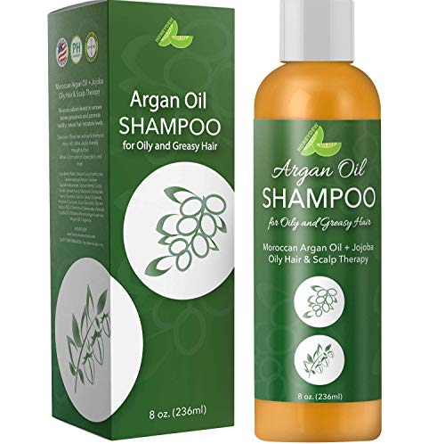 Argan Oil Shampoo for Oily Hair + Scalp - Sulfate Free Clarifying Shampoo for Greasy Hair - Volume Shampoo for Men + Women - Therapeutic Jojoba & Keratin for Strength - Salon Quality Natural Hair Care (Best Shampoo For Oily Roots And Dry Ends)