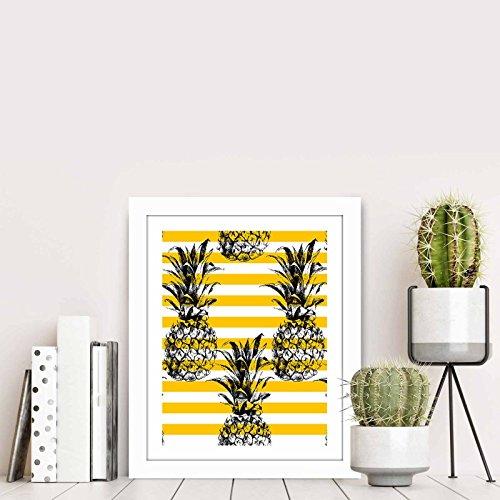 LaModaHome Fruit MDF Home Decors, 4 Pineapples, White and Ye