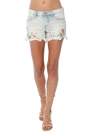 07c6085a55 [BLANKNYC] Blank NYC Womens Floral Embroidered Denim Shorts In Sitting  Pretty