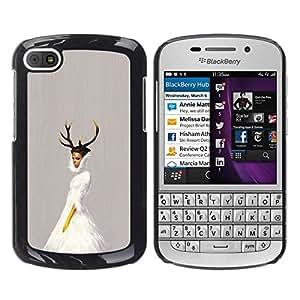 // PHONE CASE GIFT // Duro Estuche protector PC Cáscara Plástico Carcasa Funda Hard Protective Case for BlackBerry Q10 / Cuernos de la bailarina /