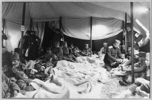 Photo: Serbian ambulance tent near Adrianople,wounded soldier,medical personnel,c1912 (Christmas Photos Serbian)