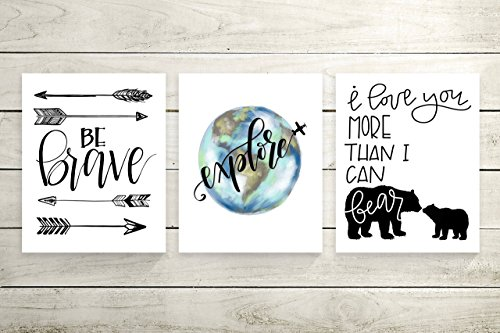 Three Piece Cardstock Nursery Prints 8.5 x11 ''Explore'' by June & Lucy