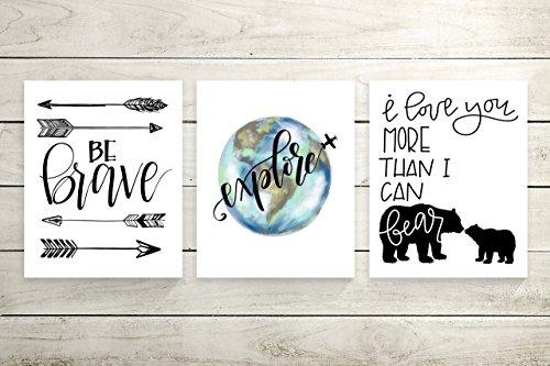 Three Piece Cardstock Nursery Prints 8.5 x11 ''Explore'' by June & Lucy
