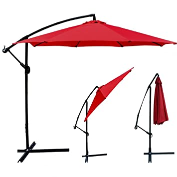 Red Patio Umbrella Offset 10u0027 Hanging Umbrella Outdoor Market Umbrella D10