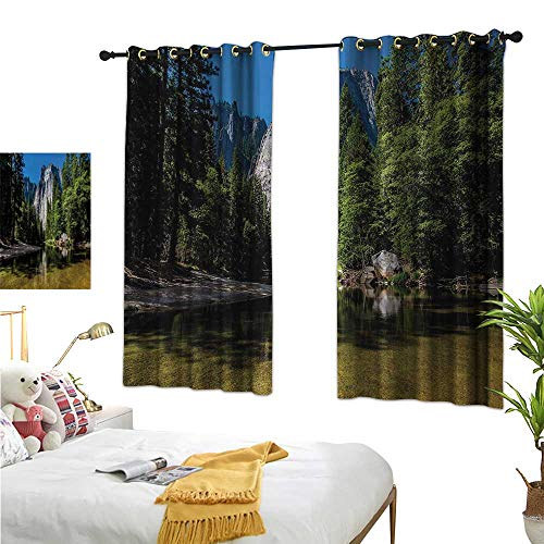 (Fabric Shower Curtain Liner Yosemite,Large Granite Cliff Surrounded by Trees River Under Clear Sky Wild Beauty Scenery,Green Blue 84