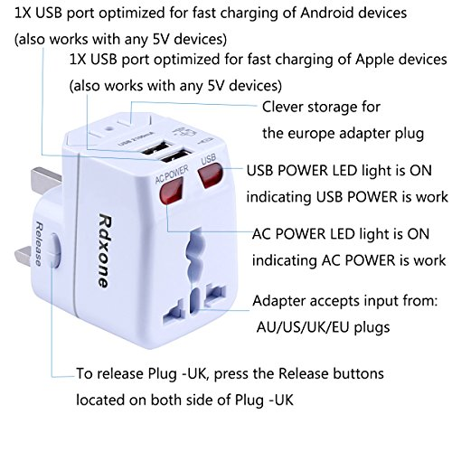 Rdxone Universal World Travel Adapter with 2 USB- Europe, Italy, Ireland, UK, US Plug Adapter- Over 150 Countries& Travel Power Converter Adapter Wall Charger Plug Kit for iPhone, Android (White) Photo #3