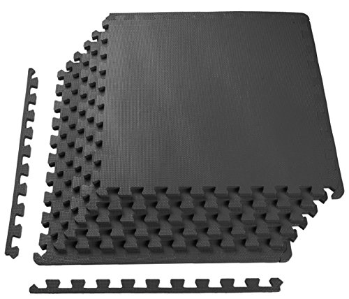 BalanceFrom Puzzle Exercise Mat with EVA Foam Interlocking Tiles, Black - Black Square Flooring