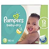 Diapers Size 3 - Pampers Baby Dry Disposable Baby Diapers, 192 Count, Economy Pack Plus