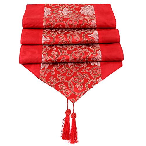 TraveT Silk Chinese Embroidery Table Runner Table Decoration Cloth Tassel Table Runner for Dining Room Living Room, Red]()