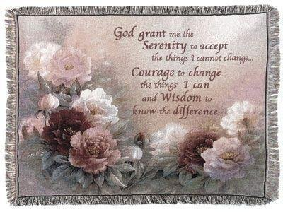 "Simply Home Serenity Prayer with Flowers Tapestry Throw Blanket 50"" x 60"""
