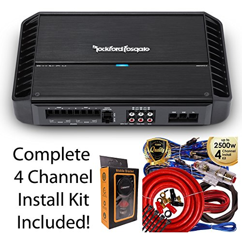 Rockford Fosgate P600X4 600 Watts Punch Series 4-Channel Stereo Class AB Car Power Amplifier + 4 Channel Amp Kit