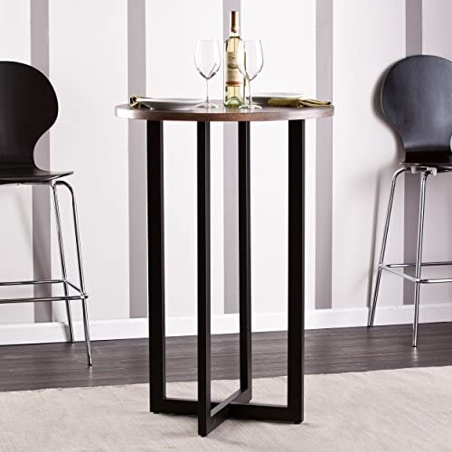 Danby Bistro 42 Bar Table – Burnt Oak Finish w Black Metal Base – Seats 2 to 4 People