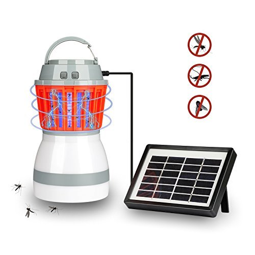 BBDUS Bug Zapper Lantern LED Waterproof Mosquito Killer Camping Lamp USB Rechargeable Pest Repeller Tent Light for Indoor Outdoor Home Traveling with Solar Panel