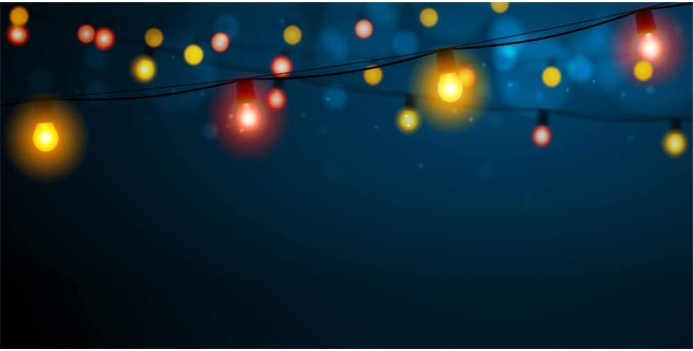 Colour Bulbs Background Red and Yellow Bokeh Halos 10x5ft Polyester Photography Backdrop Deep Blue Night Christmas Lights Festival Celebration Decor Baby Child Kids Studio Photo Prop Shoot